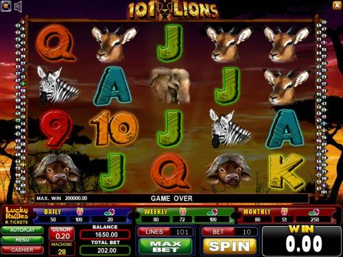 101 Lions Review Slots main game board featuring five reels and 101 paylines