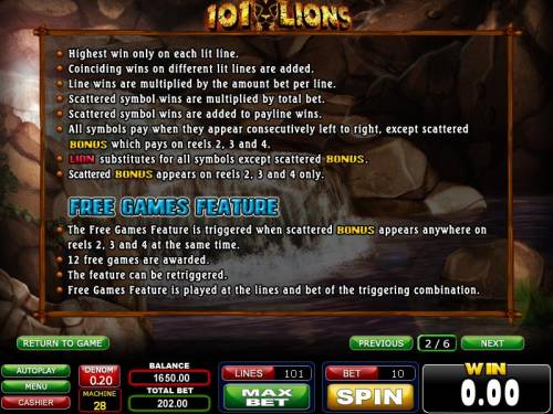 101 Lions Review Slots Free Games Feature rules