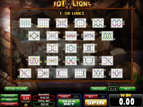 101 Lions Review Slots 1-50 payline diagrams