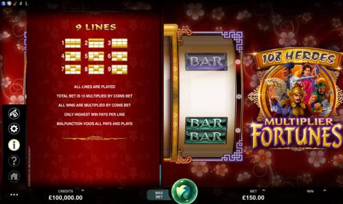 108 Heroes Multiplier Fortunes Review Slots Paylines 1-9