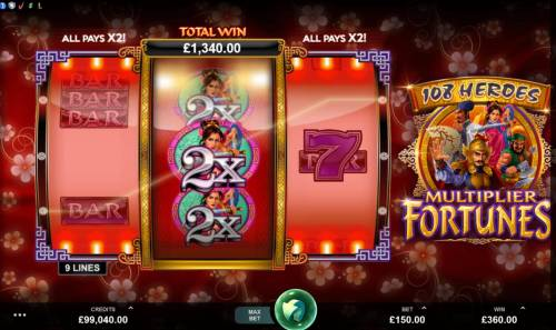 108 Heroes Multiplier Fortunes Review Slots Re-spin feature pays out a 1340 coin big win