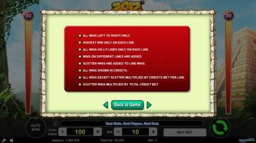 2012 Review Slots General Game Rules