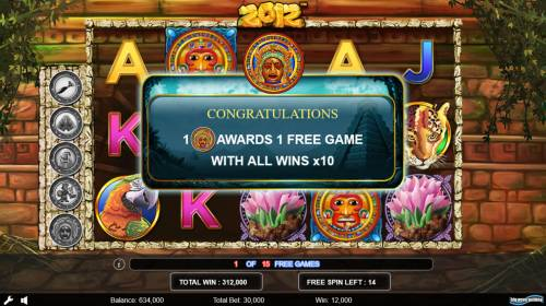 2012 Review Slots Extra free game awarded