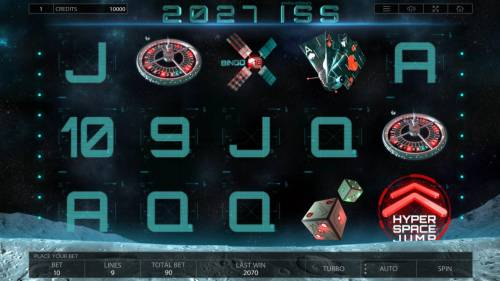 2027 ISS Review Slots Main game board featuring five reels and 9 paylines with a $900,000 max payout.