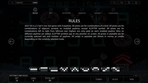 2027 ISS Review Slots General Game Rules and Payline Diagrams 1-9