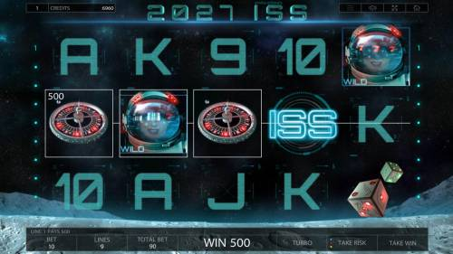 2027 ISS Review Slots A 500 win triggered by a winning three of a kind.