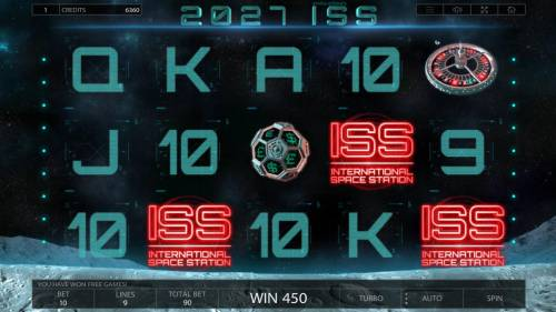 2027 ISS Review Slots Landing 3 scatter symbols anywhere on the reels triggers the free spins feature.