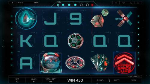2027 ISS Review Slots Free Spins Game Board - The free spins feature will continue until all of the fuel has been depleted. Landing a Hyper Space Jump symbol on reel 5 will reduce your fuel level by 1. Landing a Fuel symbol on reel 1 will increase your fuel level by 1.