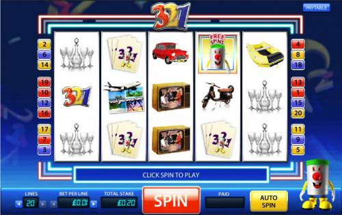 321 Review Slots main game board featuring five reels and twenty paylines with a 5000x max payout per line bet