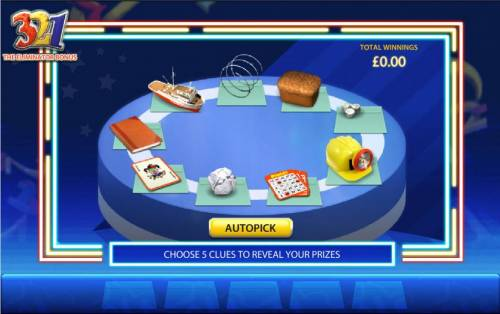 321 Review Slots choose five clues to reveal your prizes
