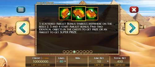 3 Elements Review Slots Three scattered amulet bonus symbols anywhere on reels 2, 3 and 4 start Amulet Bonus. Find two identical objects in the chests to get prize or an amulet to get super prize.