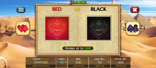 3 Elements Review Slots Double-Up feature game board, select red or black for a chance to double your spin winnings.