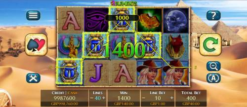 3 Elements Review Slots Multiple winning paylines triggers a 1400 coin big win!