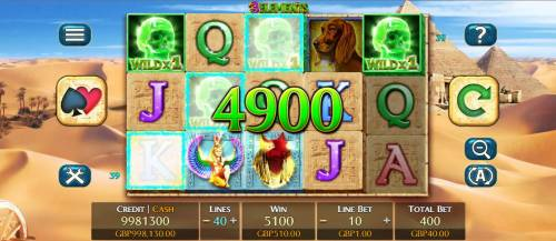 3 Elements Review Slots Green skulls triggere multiple winning combinations and a 5100 coin jackpot.