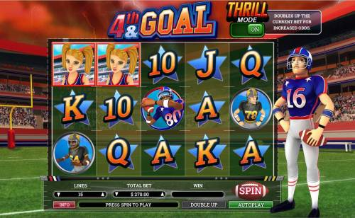 4th and Goal Review Slots Main game board featuring five reels and 15 paylines with a $9,000 max payout