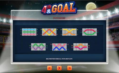 4th and Goal Review Slots Payline Diagrams 1-15