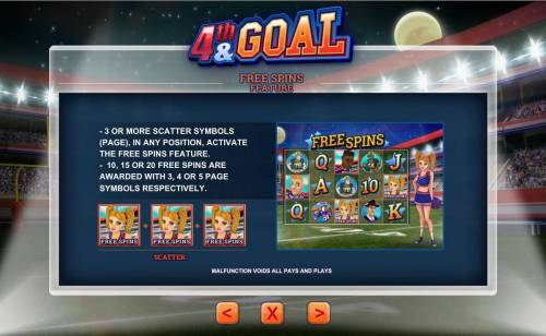 4th and Goal Review Slots Free Spins Feature Rules - 3 or more scatter symbols in any position activate the Free Spins feature.