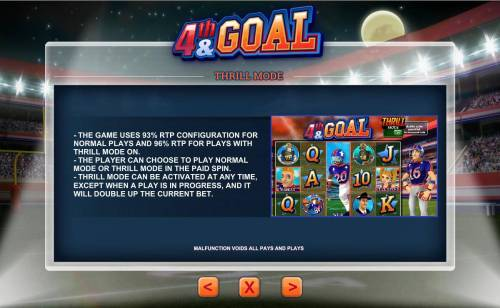 4th and Goal Review Slots Thrill Mode - the game uses 93% RTP configuration for normal plays and 96% RTP for plays with Thrill Mode on.