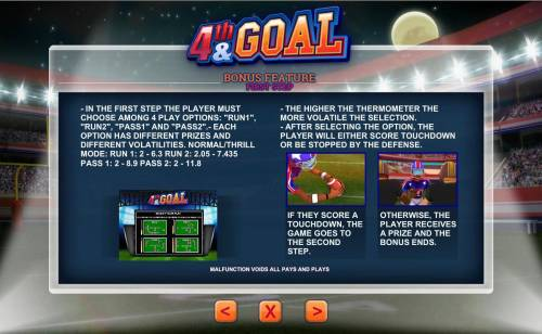 4th and Goal Review Slots Bonus Feature First Step - Choose among 4 play options.