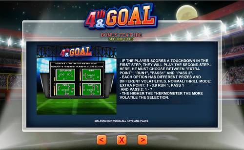 4th and Goal Review Slots Bonus Feature Step two - Must choose between Extra Point, Run1, Pass1 or Pass2.