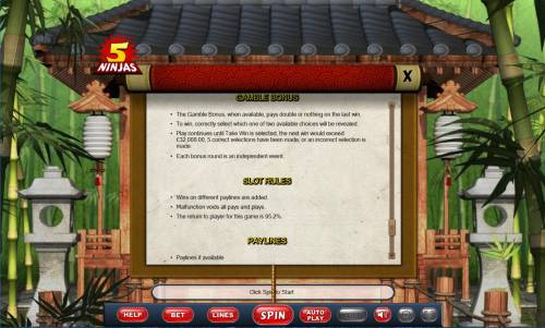 5 Ninjas Review Slots General Game Rules - The theoretical average return to player (RTP) is 95.20%.