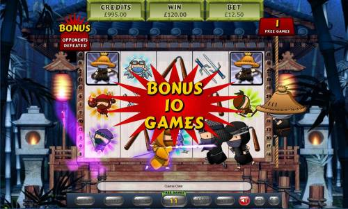 5 Ninjas Review Slots Defeating the oppent 10 times during the free games feature will award you with additional free games