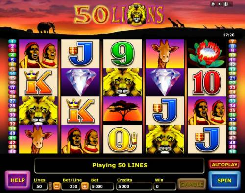 50 Lions Review Slots Main game board featuring five reels and 50 paylines with a $4,000 max payout