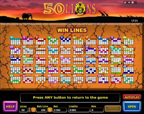 50 Lions Review Slots Win Lines Diagrams
