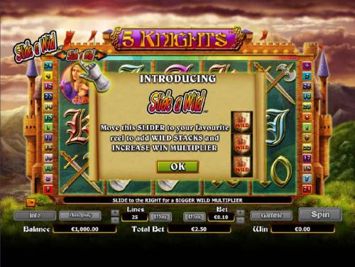 5 Knights Review Slots move the slider to your favorite reel to add wild stacks and increase win multiplier