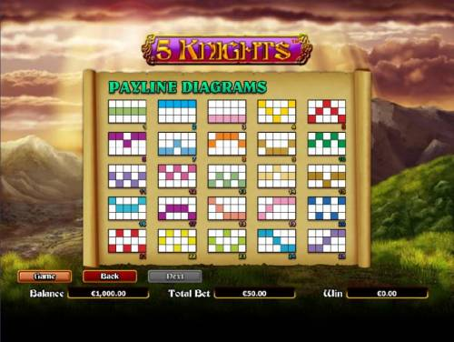 5 Knights Review Slots payline diagrams