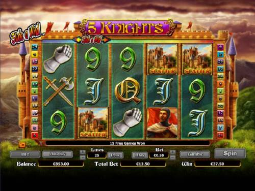 5 Knights Review Slots three scatter symbols triggers 15 free spins