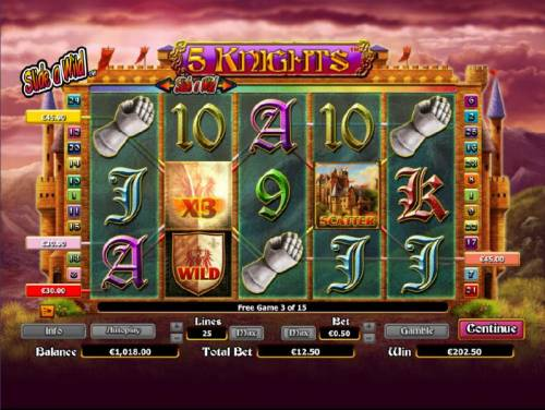 5 Knights Review Slots multiple winning paylines triggered during free games feature