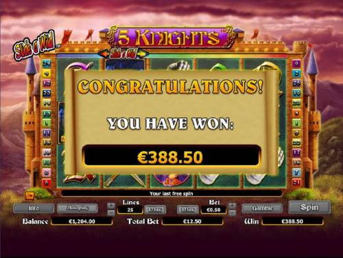 5 Knights Review Slots free games feature pays out a total of $388