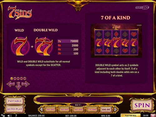 7 Sins Review Slots Wild and Double Wild Rules and Pays