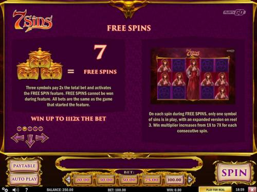 7 Sins Review Slots Three Pandora box scatter symbols pay 2x and award 7 free spins.