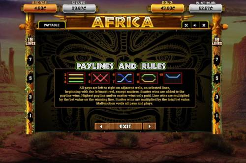Africa Review Slots Paylines 1-10