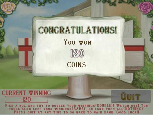 Afternoon Tea Party Review Slots gamble feature pays out a 120 coin award