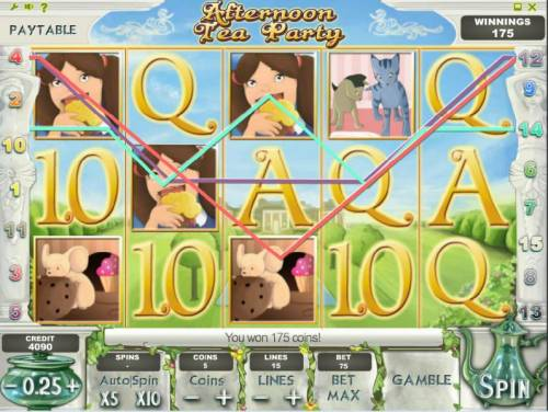 Afternoon Tea Party Review Slots multiple winning paylines triggers a 175 big win