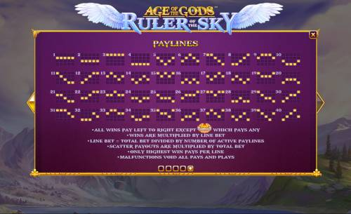 Age of the Gods Ruler of the Sky Review Slots Paylines 1-40