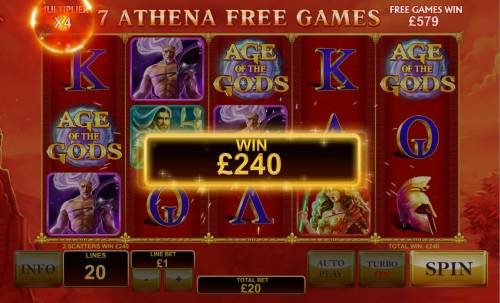 Age of the Gods Review Slots Multiple winning paylines triggers a 240.00 big win during Athena Free Games feature!