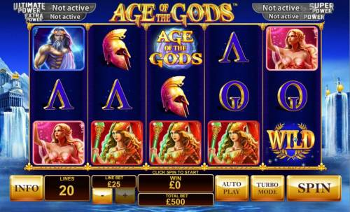 Age of the Gods Review Slots Main game board featuring five reels and 20 paylines with a progressive jackpot max payout