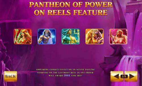 Age of the Gods Review Slots Pantheon of Power on reels feature - Appearing consecutively on an active payline starting on the leftmost reel in any order will award 200x line bet!