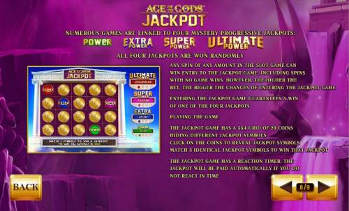 Age of the Gods Review Slots Numerous games are linked to four mystery progressive jackpots. All four jackpots are won randomly