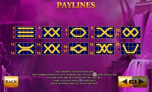 Age of the Gods Review Slots Payline Diagrams 1-20. Only highest win pays per line.