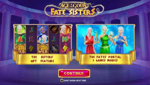 Age of the Gods Fate Sisters Review Slots Game features Include: The Sisters Gift Feature and The fates Portal 3 Games Modes!