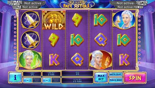 Age of the Gods Fate Sisters Review Slots Main game board featuring five reels and 20 paylines with a progressive jackpot max payout
