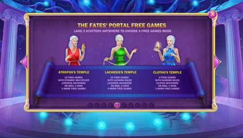 Age of the Gods Fate Sisters Review Slots The Fates Portal Free Games Rules - Land 3 scatters anywhere to choose a free games mode.