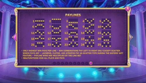 Age of the Gods Fate Sisters Review Slots Payline Diagrams 1-25. Only highest win pays per line. Win combinations pay left to right only except scatter which pays any.