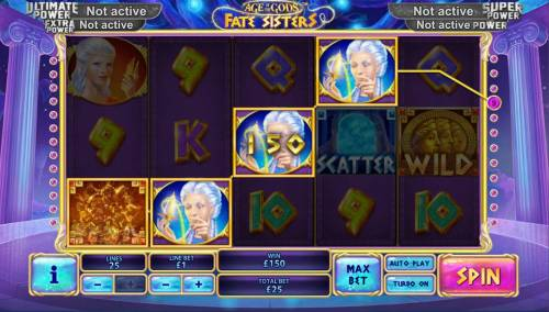 Age of the Gods Fate Sisters Review Slots A Four of a Kind leads to a 150.00 jackpot