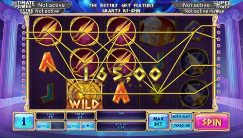 Age of the Gods Fate Sisters Review Slots Multiple winning paylines triggers a 165.00 big win!